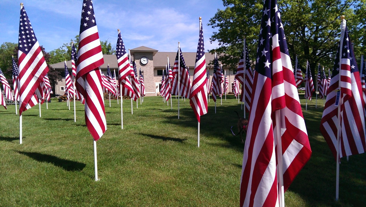 Field of Flags: Memorial Day observance outside Kinnelon Borough Hall